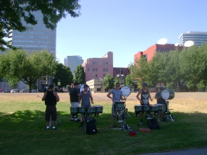 street music drums in waterfront park