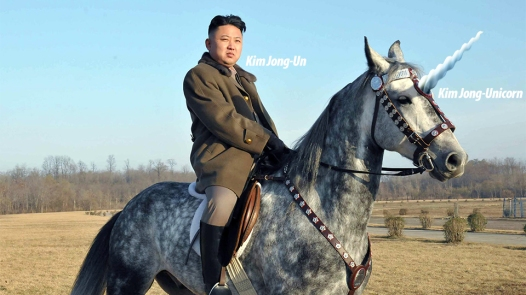 Kim Jong Un upon his steed.  What a man!