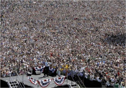 Obama speaks to record numbers in Portland, Oregon during first campaign