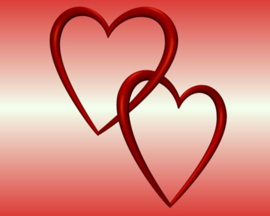 Entangled Hearts Red White Blended Background