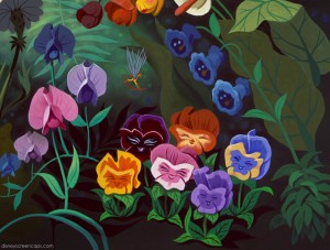 flower happy whimsy Alice-in-Wonderland