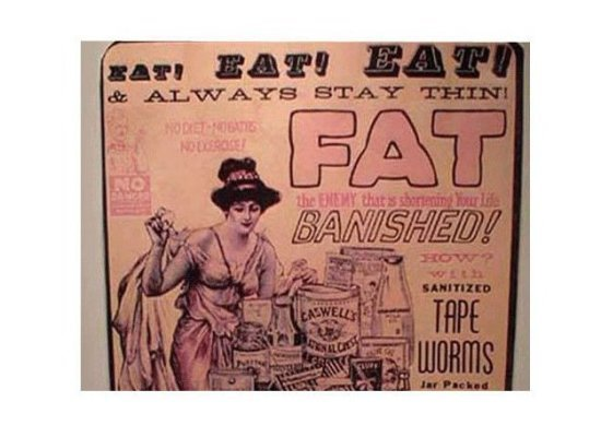 vintage woman tape worm diet exer