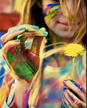 free spirit woman colorful paint