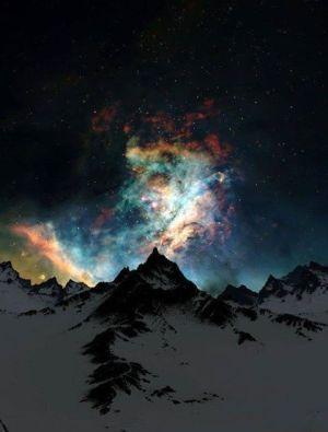 northern lights, alaska, color stars night mountain cover back