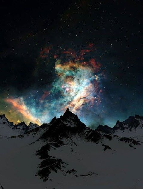 northern lights, alaska, color stars night mountain cover back