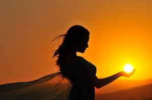 woman with sun shadow