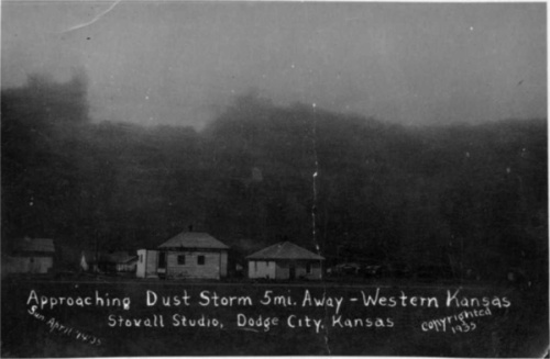 Dust storm blowing into Dodge City. The worst storm recorded was Black Sunday, April 15, 1935. Survivors talked of dust so thick it drifted like snow.