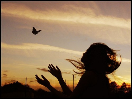 freedom shadow butterfly woman sunset