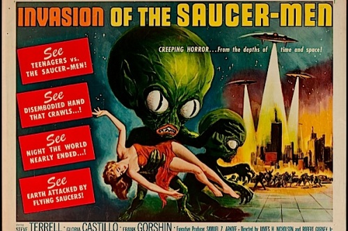 1957---invasion-of-the-saucer-men movie fear vintage