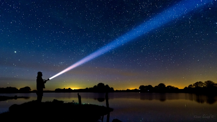 stars shadow lake night