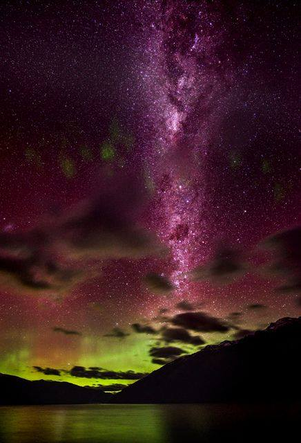 Our Galaxy over Queenstown ( on the evening of the Aurora Australis ) space star