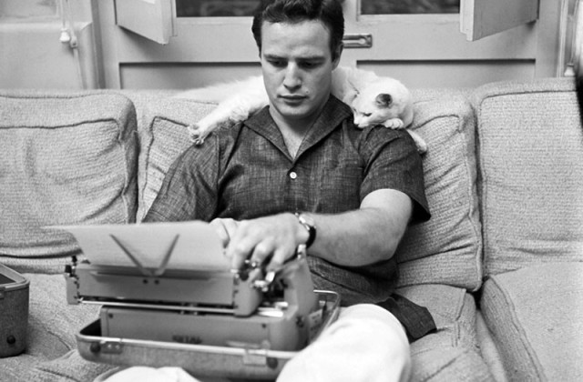 vintage marlon brando and cat