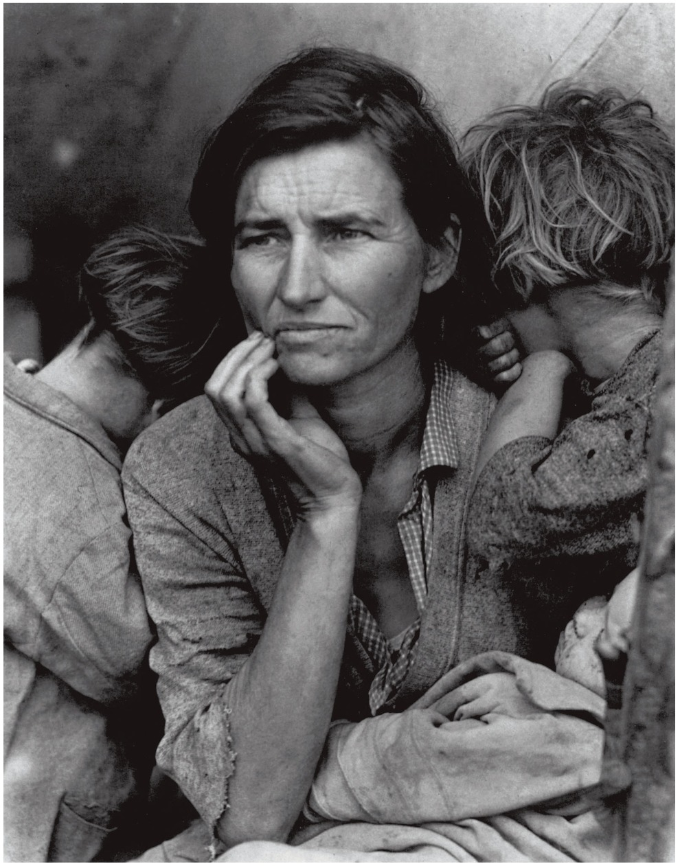"""Migrant Mother"" is one of a series of photographs that Dorothea Lange made of Florence Owens Thompson and her children."