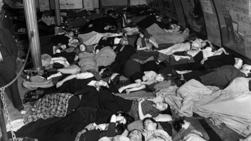 Londoners shelter in a tube station during the Blitz.