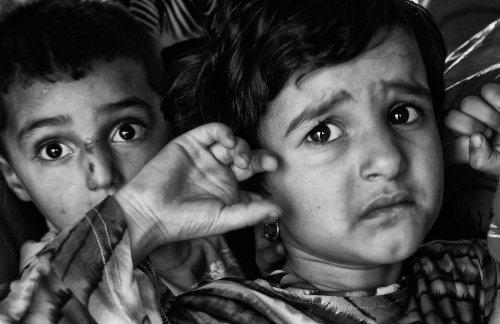 Traumatized and shellshocked children in the village of Aitaroun. Photo by Michael Robinson Chavez.