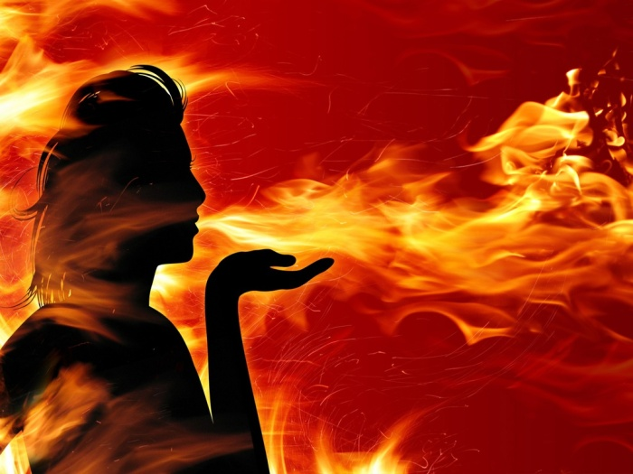 WOMAN fire art