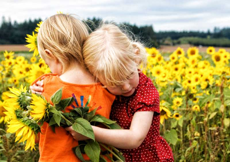 kindness girls sunflowers friends