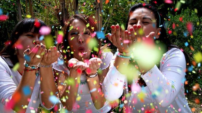 people happy enthusiatic color confetti women