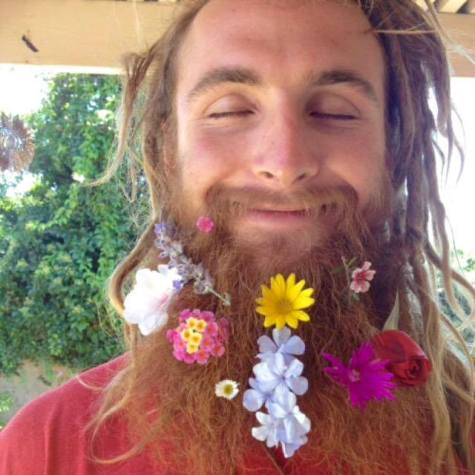 flower beard man dude happy